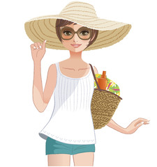 女性 夏 麦わら帽子 休暇 Pretty girl wearing a wide brimmed straw hat.