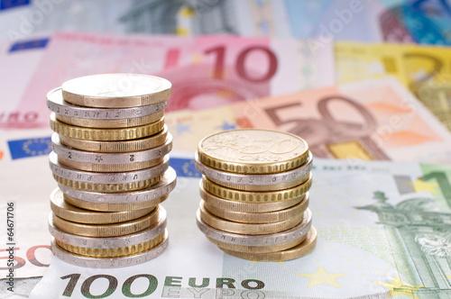 canvas print picture Euromünzen und Euroscheine