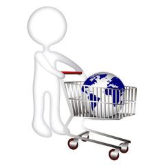Monigote con carrito y bola del mundo