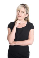 Attraktive Business Frau isoliert mit seitlichem Blick