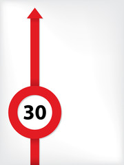 Red arrow with speed limit symbol