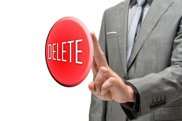 "Man pressing a button with the word ""delete"""