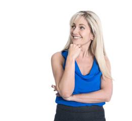 Schöne Frau mit positiver Ausstrahlung und weißen Zähnen