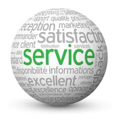 "Globe - Nuage de Tags ""SERVICE"" (clients satisfaction contact)"