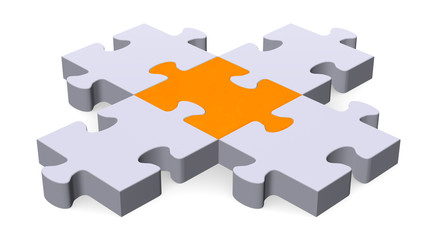 3d puzzle forming intersection, orange center
