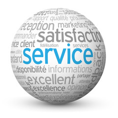 "Globe - Nuage de Tags ""SERVICE"" (contact clients satisfaction)"