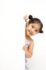 Happy young Asian girl holding a blank white card.