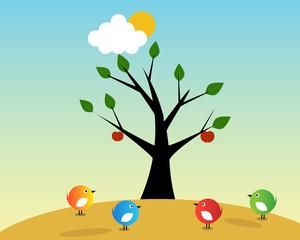 Birds and fruit tree