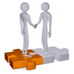 3d people on puzzles shaking hands