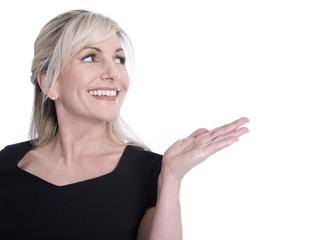 Gesicht einer älteren, Frau mit weißen Zähnen und Hand