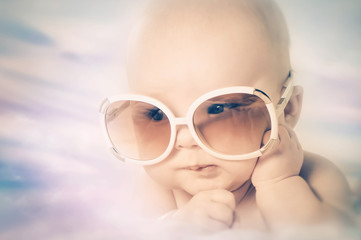 cute baby in sunglasses