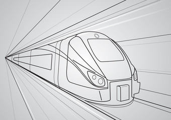 Train motion, vector train, lines design