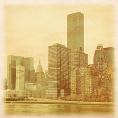 Vintage photo of Manhattan skyline.