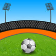 Soccer ball on grass field in stadium - vector illustration