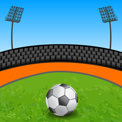 Soccer ball on grass field in stadium - vector illustration