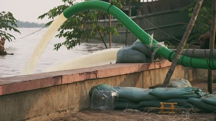 Floodwater pumping  by pumps, on october 2013, Kampong Cham