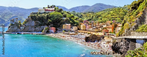 Panoramic coastal view at Monterosso, Cinque Terre, Italy