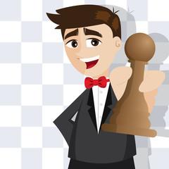 cartoon businessman with piece of chess