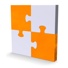 3d puzzle with orange diagonal