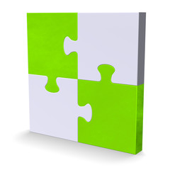 3d puzzle with green diagonal