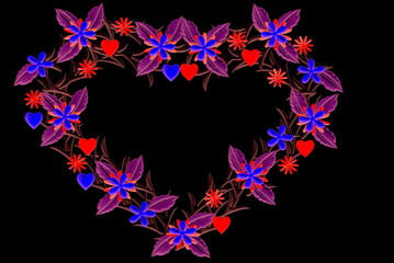 Flowers Heart on black background