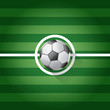 Soccer ball long shadow on center of grass field - vector illust