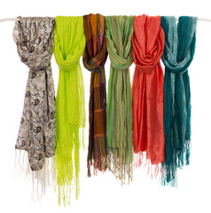colored scarves on a hanger