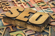 SEO acronym in wood type
