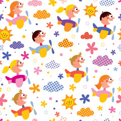 Kids in airplanes pattern