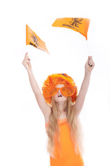 young blond girl with orange hat waving and flags in studio