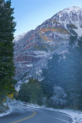 View on Highway in fall all around Maroon Bells