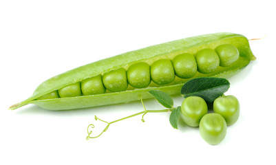Green Peas in Open Pod Isolated on White Background
