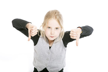 young girl in studio with both thumbs down