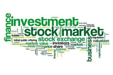 Stock investing - informative word cloud illustration