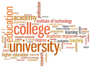 Higher education - informative word cloud illustration