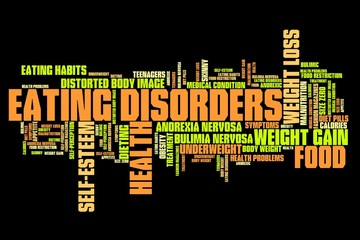 Anorexia and bulimia - informative word cloud illustration