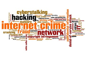 Internet crime - informative word cloud illustration