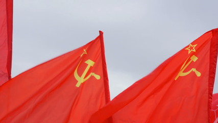 Soviet flags flying. Red flags in the wind.