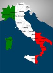 Landkarte Italien in Landesfarben