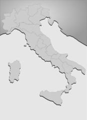 Landkarte Italien in grau