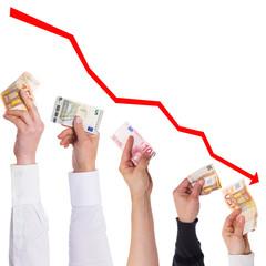 Konzept der Euro verliert immer mehr an Wert