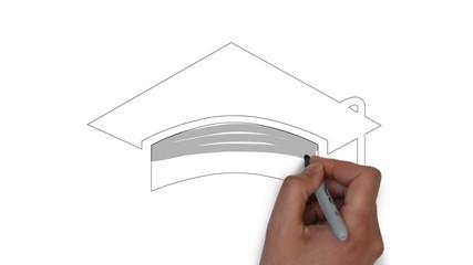 Schule Schulabschluss Highschool Doktorhut
