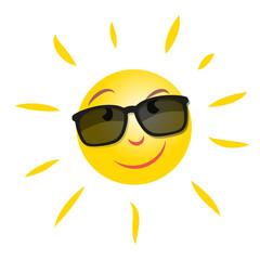Smiling Summer Sun Character Sunglasses Vektor