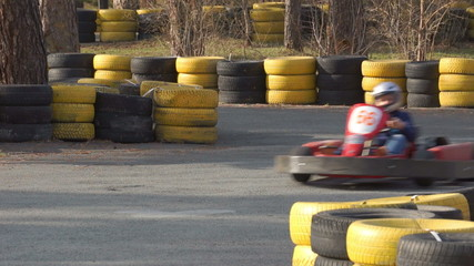 Go-card racers are racing