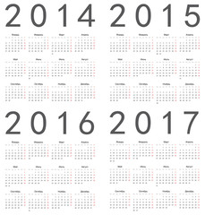 Set of square russian 2014, 2015, 2016, 2017 year calendars.