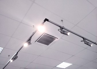 interior ceiling panels with spotlights