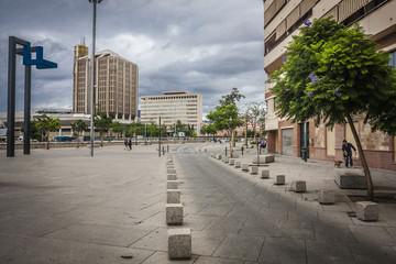Malaga city in rain, Spain