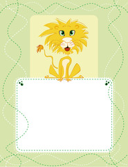 Vertical Birthday invitation card with cartoon lion