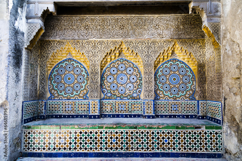 Tiled and carved alcove in Casbah, Tangier - 64685996