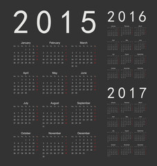European black 2015, 2016, 2017 year vector calendars